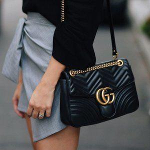 Gucci 41719 Black GG Marmont Mini Shoulder Bag